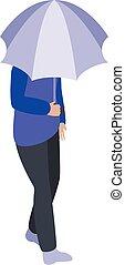 Girl grey umbrella icon, isometric style