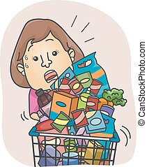 Girl Grocery Cart Full - Illustration of a Woman Struggling...