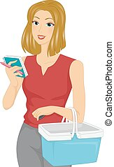 Girl Grocery List Check - Illustration of a Girl Checking...