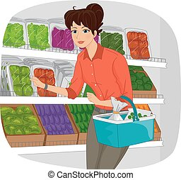 Illustration of a Girl in a Grocery Checking the Produce Section