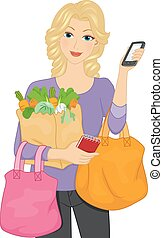 Girl Grocery Shop Service Mobile