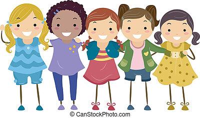 Girl Group - Illustration of a Group of Girls Huddled...