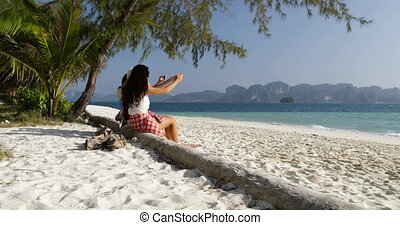 Girl Group Taking Photo Of Beach Landscape On Cell Smart Phone, Young Women On Holiday