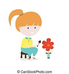 girl, grows, flower.