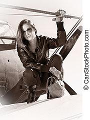 girl, guerre, noir, aircraft., debout, veste, beau