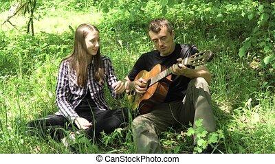 girl, guitar., père, jouer