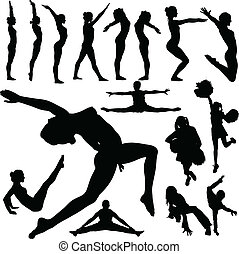 girl gym vector silhouettes