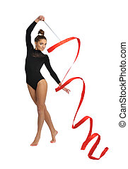 gymnast - girl gymnast in black sport suit with red ribbon...
