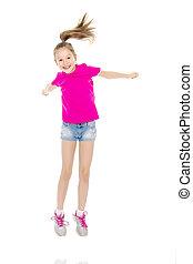 Girl gymnast jumping.