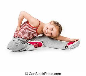 girl gymnast on a white background