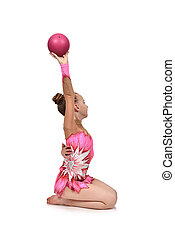 girl gymnast with pink ball