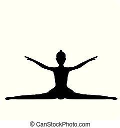 Girl gymnastic sport silhouette sportswoman. Vector...