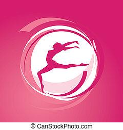 Vector illustration of girl gymnastics silhouette