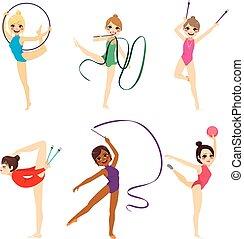 girl, gymnastique, collection