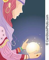 Girl Gypsy Crystal Ball - Illustration of a Girl in a Gypsy...