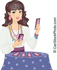 Girl Gypsy Tarot Cards Read - Illustration of a Girl in...