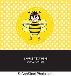 girl, habillé, abeille
