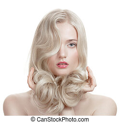 girl., hair., bouclé, sain, long, beau, blond