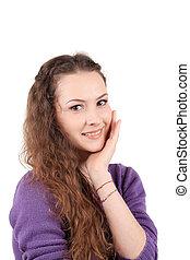 Girl hair braid smiling.