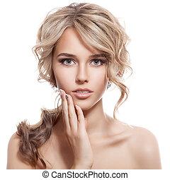 girl., hair., göndör, egészséges, hosszú, gyönyörű, szőke