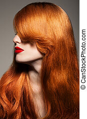 girl., hair., saudável, longo, bonito
