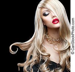 girl, hair., sexy, blonds, beau, blond