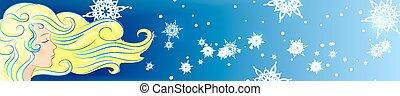 girl hair wind snowflake winter