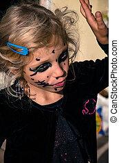 girl, halloween, maquillage