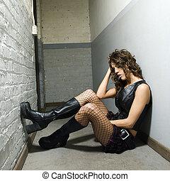 girl, hallway.