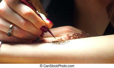 Girl hand art pattern