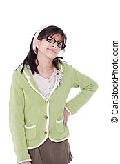 Girl, hand on hip, with fed up expression