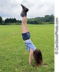 Girl Handstand Outdoors