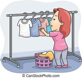 Girl Hanging Laundry