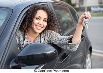 Girl happy after purchasing a new car - Girl very happy...