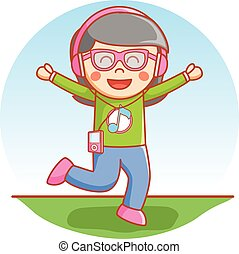 Girl happy using headset