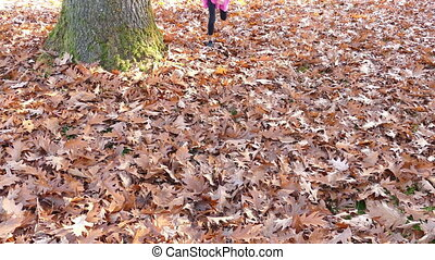 Girl Has Fun Playing In Leaves