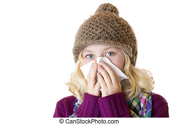 Girl has sniff and blow her nose with a tissue. Isolated on white background.