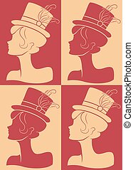 Girl Hat Burlesque Silhouette