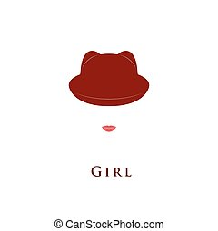 Girl hat with small ears.