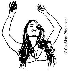 girl, haut, mains
