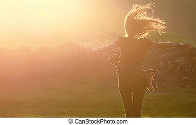 girl, haut, sauter
