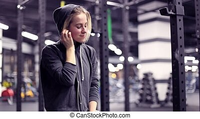 Girl have a rest in gym