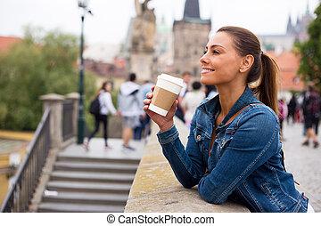 girl having a coffe