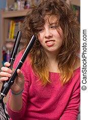 Girl having bad hair day - Cute teenage girl with messy hair...