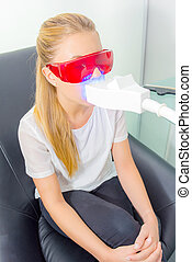girl having dental xray
