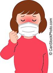 Girl having fever symptoms.