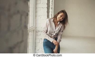 Girl Having Fun in Empty Building