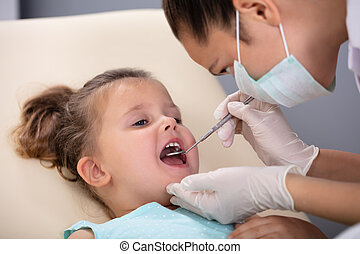 Girl Having His Teeth Examined By A Dentist