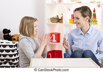 Girl having language class