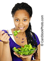 Girl having salad
